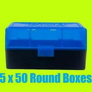 5 x BERRY'S PLASTIC AMMO BOX, BLUE/BLACK 50 Round 223/556/300BLK - FREE S/H
