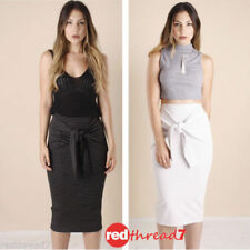 Regular Size Striped Mid-Calf Skirts for Women