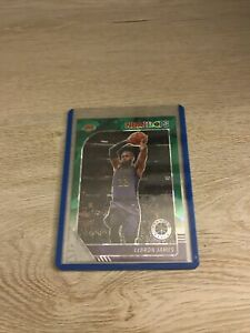 2019-20 NBA Hoops Premium Stock Lebron James Green Cracked Ice Prizm #87 Lakers