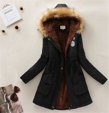 Women's Warm Soft Long Coat Fur Collar Hooded Jacket Winter Parka Outwear Coats