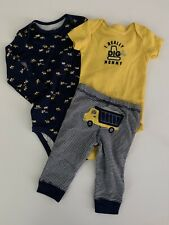 Carters Baby Boys Tractor Bodysuits Pants Set Size 6 9 12 18 24 Months Navy Blue