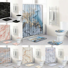 Art Marble Shower Curtain Set Bathroom Waterproof Polyester Curtains Bath Mat