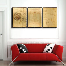 "TIME4ART Leonardo da Vinci Vitruvian Man CANVAS PRINT GICLEE SET 3 x 24''x16""in"