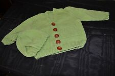 Hand knitted Toddler Cardigan and Beanie Set