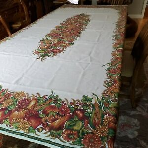 """Harvest Tablecloth Autumn 102"""" x 58"""" Thanksgiving Holiday Pumpkins Corn Leaves"""