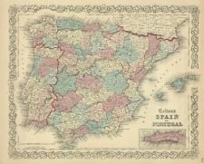 "1861 Colton map: ""Spain & Portugal""-original steel-plate engraving"