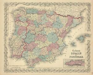 "1859 Colton map: ""Spain & Portugal""-original steel-plate engraving"