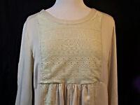 Umgee Tunic Top Size Large L Boho Babydoll Lace Lined 3/4 Sleeve Cotton Blend