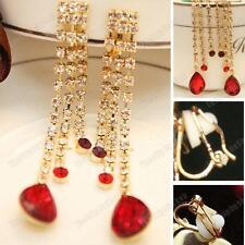 Clip on 7cm Long Red Teardrop Crystal Earrings Rhinestone Glass Drop Gold Pltd