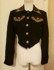 JOHN MURROUGH BLACK FABRIC & LEATHER WITH GOLD TRIM BOLERO JACKET Size SMALL