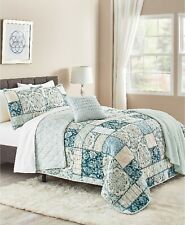 Sunham Tricia 5-Pc. Reversible Patchwork Leafy Quilt Set - FULL / QUEEN - Teal