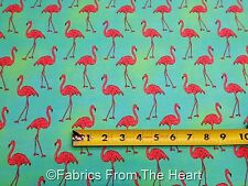 Pink Flamingo Birds Beach Divas on Cabana Blue BY YARDS Robert Kaufman Fabric