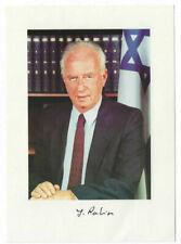 Yitzhak Rabin Signed 5 x 7 Photo / Autographed Israel Judaica