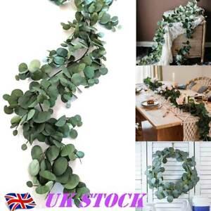 2M Artificial Fake Eucalyptus Garland Leaf Vine Green Leaves Backdrop Decor UK