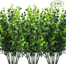 8 Pcs Artificial Greenery Plants Fake Plastic Boxwood Farmhouse Stems Home Decor