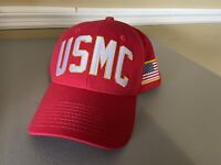 US United States Marine Corps Red Embroidered Snapback Cap Hat USA Made