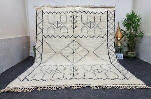 "Moroccan Handmade Beni Ourain Rug 8'2""x10' Berber Abstract White Black Wool Rug"