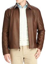 $650 New Mens Polo Ralph Lauren Maxwell Brown Lambskin Leather Zip Jacket M