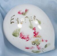 Antique Blown Glass Easter Egg Hand Painted with Fuschia Flowers Victorian Era