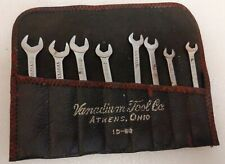 Vintage 8 VANADIUM TOOL Co. ID80 Open End Ignition Wrench Set Athens OH & Pouch