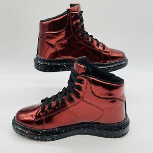 Mens Punk Lace Up High Top Platform Shoes Boots Red Men's US 10 Faux Patten