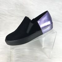 Free People Varsity Women's Slip On Sneakers Black/Purple Calf Hair Size 37 US 7