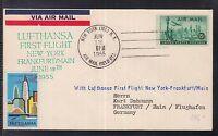 USA Luftpost Lufthansa 1955 New York nach Frankfurt