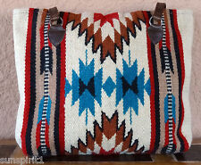 Wool Purse HIPURSE-NJ Maya Modern Hand Woven Large Southwestern Laptop Bag Tote