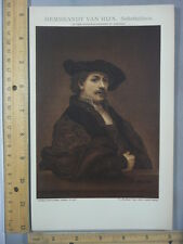 Rare Antique Original VTG Brockhaus Rembrandt Van Rijn Color Litho Art Print