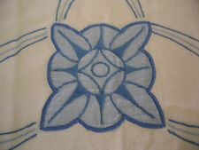 VINTAGE OLD BLUE WHITE HAND EMBROIDERED TEA COSY COVER CROCHET TRIM ART DECO