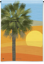 "PALM TREE SUNSET COASTAL OCEAN BEACH SMALL BANNER FLAG 12.5x18"" SPRING SUMMER"