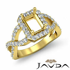 Emerald Diamond Engagement Semi Mount Ring 0.67Ct 14k Yellow Gold Cross Shank