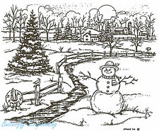 Country Snowman Farmhouse Wood Mounted Rubber Stamp Northwoods P3881 Stamp New