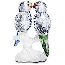 "SWAROVSKI SILVER CRYSTAL ""BUDGIES FEATHERD BEAUTIES MINT IN BOX"