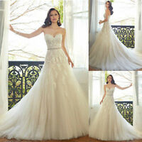 Hot New White ivory Lace Wedding Dress Bridal Gown Stock Size:6-8-10-12-14-16-18