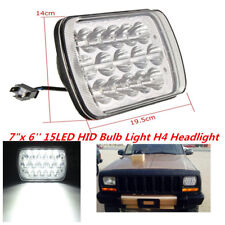 "7""X6'' 15LED HID Bulb Crystal Clear Sealed High/Low Beam Headlights For Car Jeep"