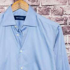 KENT WANG Men's Button up Shirt Solid Blue Cotton Fits size Large