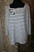 Chico's Womens Navy Blue White Striped Floral Embroidered 3/4 Sleeves Top SZ 2