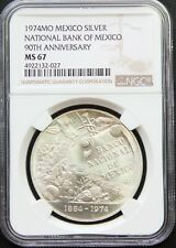 Mexico Mint 1 oz Silver 1974 90th Anniversary Banco de Mexico, NGC MS67.