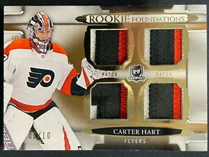 CARTER HART 2018-19 UPPER DECK THE CUP RC FOUDATIONS QUAD PATCH SP 08/10 FLYERS
