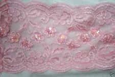 """1 yard baby light Pastel Pink stretch sewing LACE iridescent sequins 6"""" wide"""