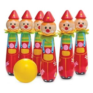 BOWLING CLOWNS - 12698 COLOURFUL FUN BALL AND SKITTLE SET KIDS GAME TOY dd