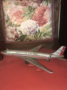 Japan Tin Friction American Airlines Jet Passenger Plane Toy