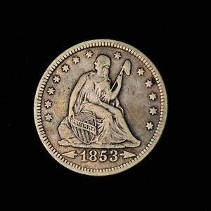 1853 25C SEATED LIBERTY QUARTER DOLLAR SILVER UNITED STATES COIN