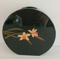 Vintage Japanese round wooden black lacquered Asian vase with gold & red flowers