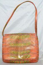 Genuine Reptile Orange & Green Saddlebag Style Shoulder Bag with Leather Lining
