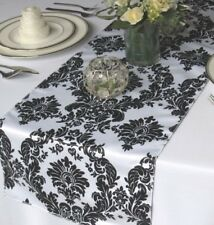 """12"""" x 108"""" Flocking Damask Table Runner Black White Flocked Velvet Wedding Home"""