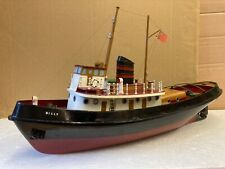 """1960's vintage model toy Tug boat """"billy� battery Powered wood construction"""