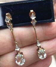 KUNZITE , DIAMOND AND SAPPHIRE EARRINGS 9K YELLOW GOLD