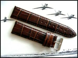 Genuine Crocodile Calf grain watch band strap IW SUISSE 16 17 18 19 20 22 24 USA